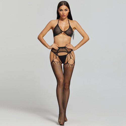 Sexy Stockings with Wild Fishnet and Bra and G-String Black