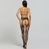 Sexy Stockings with Flower Include Bra and G-String Black