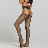 Sexy Desire Stockings and Diamond Bra and G-String Black