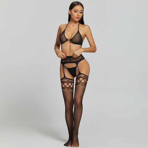 Sexy Stockings with Hollow and Bra and G-String Black