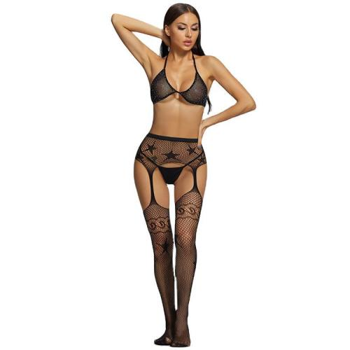 Sexy Stockings with Star Design and Bra and G-String Black