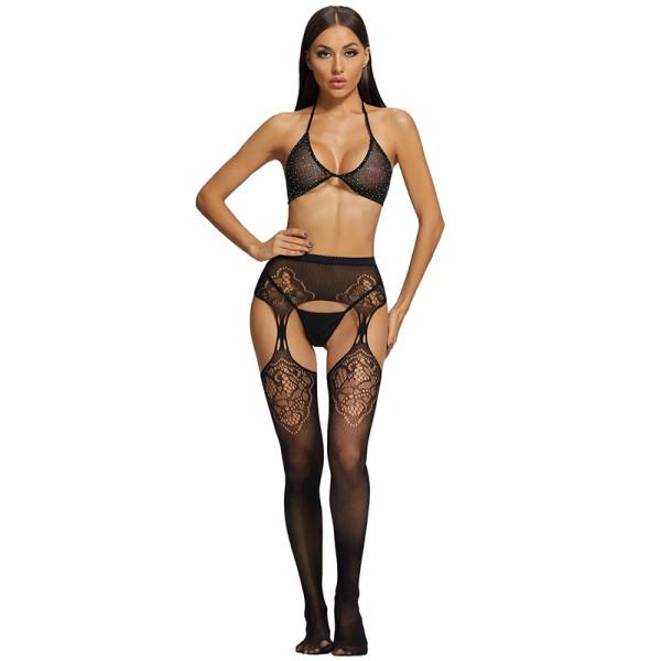 2021 New Diamond Bra and Stockings and G-String Black