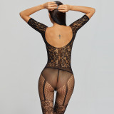 2021 New Sexy Jumpsuit with Stripe Stockings Black