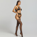 Sexy Stockings with Pattern and Bra and G-String Black
