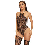 2021 New Sexy Lingerie with Hollow and Stockings Black
