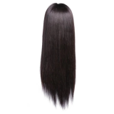 Uniqueen Long Straight Human Hair Wigs Lace Front Cap