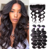 Hair 3pcs Body Wave Hair Weft With Lace Frontal Closure