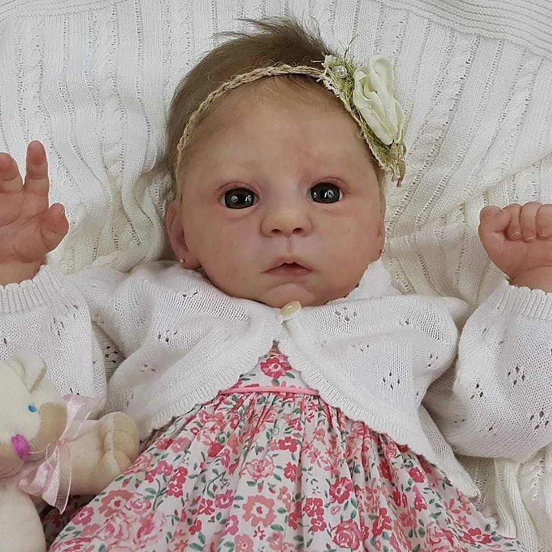 Poupée 21 Pouces Reborn réaliste poupée bébé fille Souple Cadeau de filles Compagnon de jeu