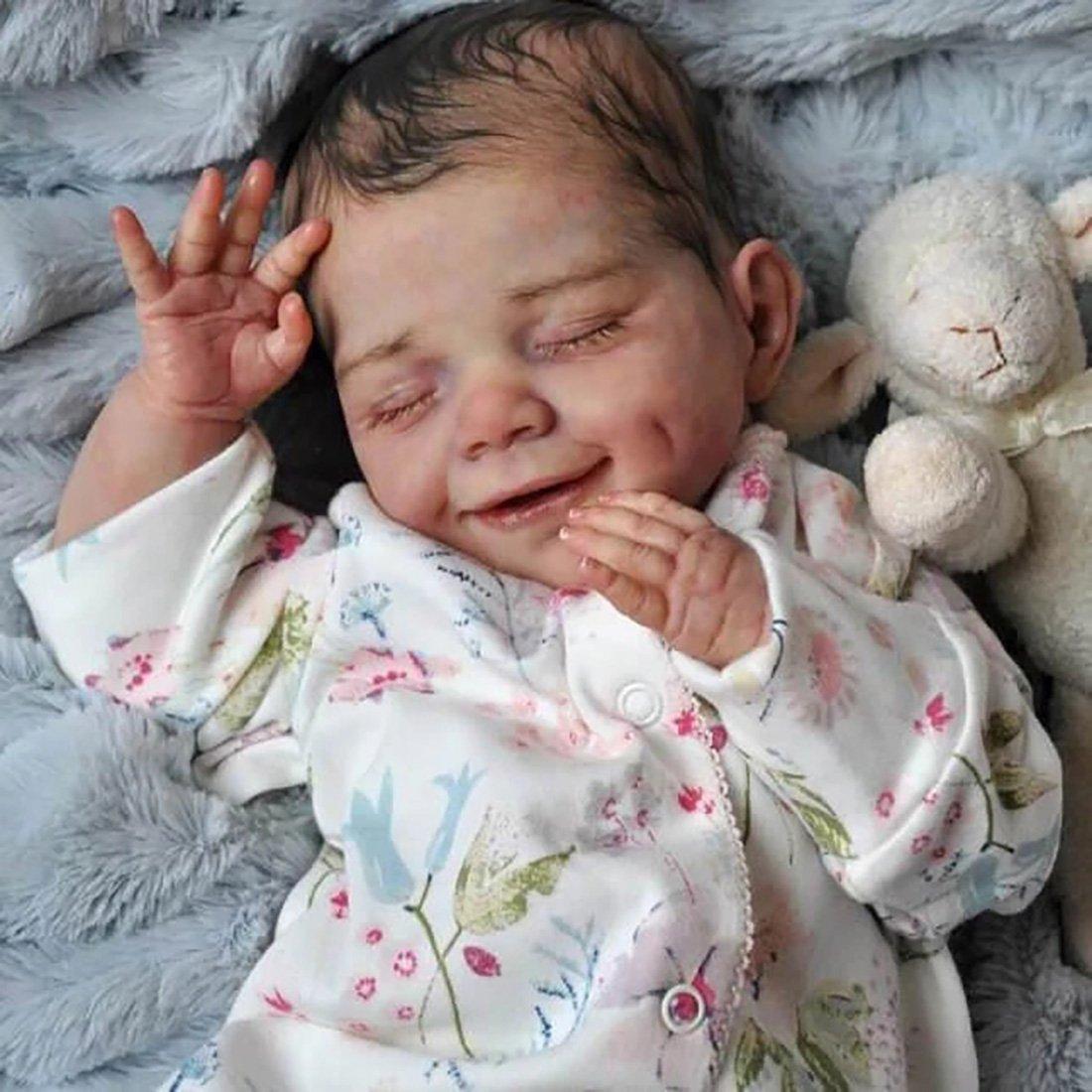 Reborn Poupée bébé Souple Réaliste en Souple Magnétique Bouche Baby Mignon Nouveau-né poupée