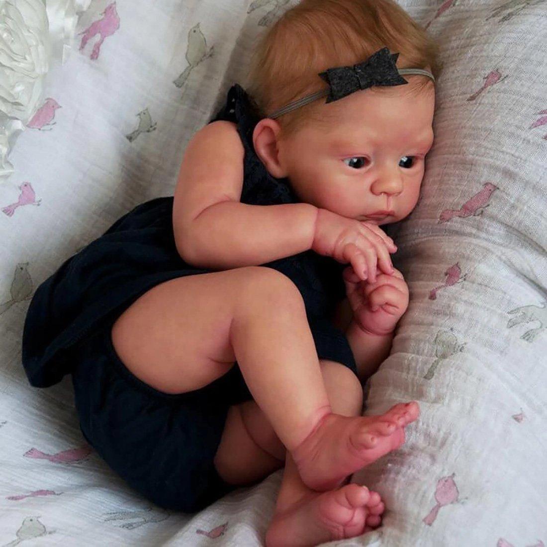 Reborn Poupée bébé Belle Lifelike Mignon Poupées, Reborn bébé 21 Pouces Magnétique Bouche Lifelike Fille, Bébé Poupée Playmate Cadeau