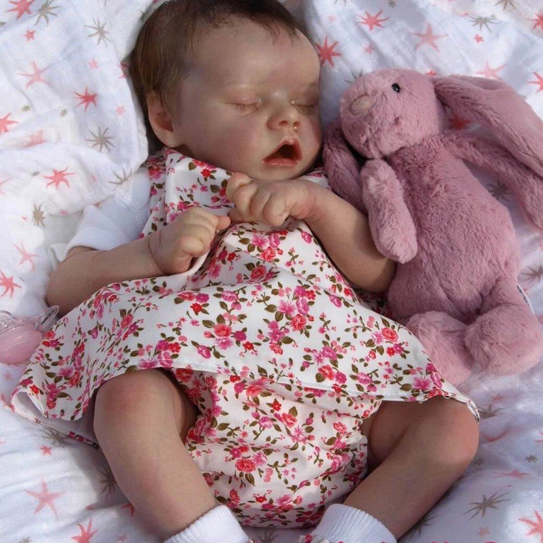 Poupée 17 Pouces Reborn réaliste poupée bébé fille Souple Cadeau de filles Compagnon de jeu