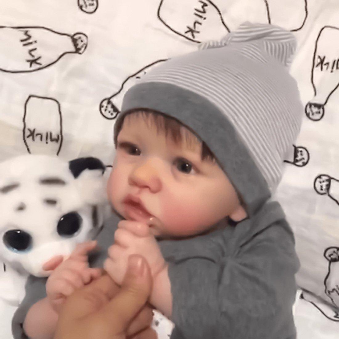 22 Pouces Mignon Corps Reborn Baby Poupées Look Real Collection Nouveau-Né Poupée pour Fille, Corps en Tissu