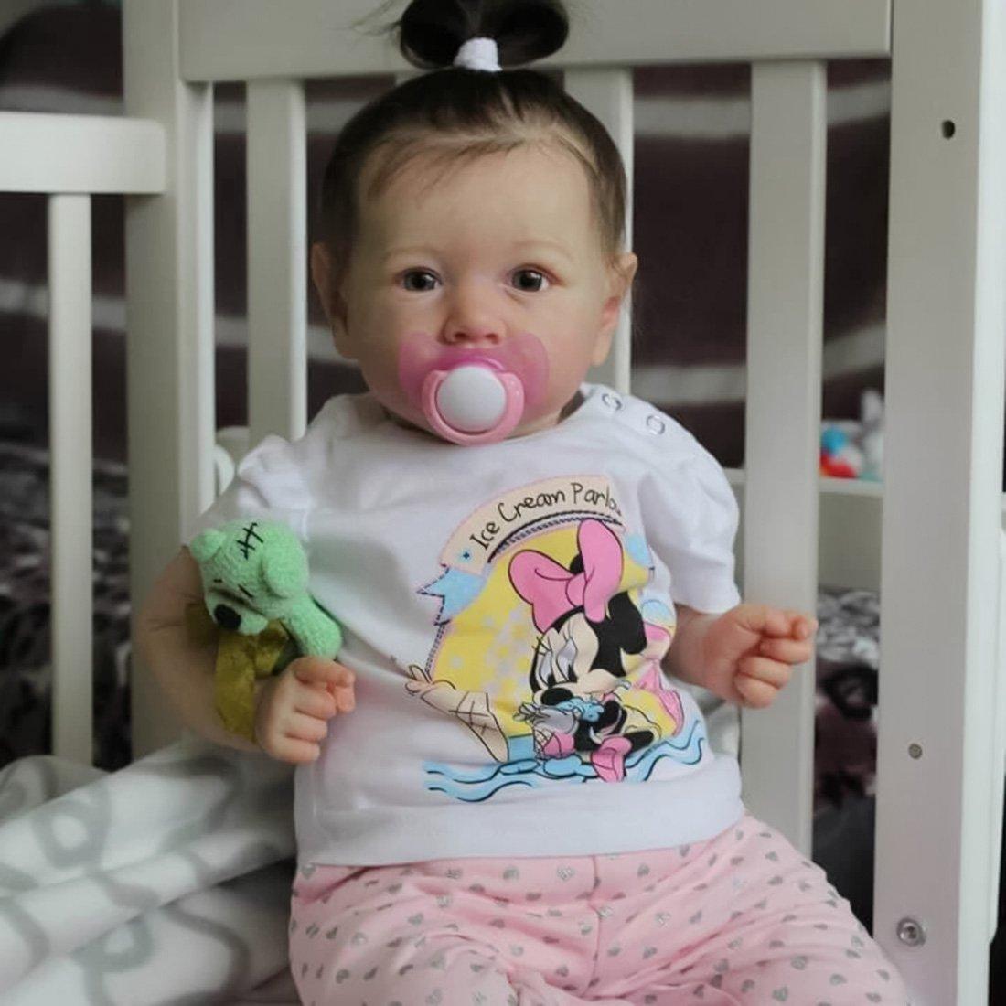 Poupée Reborn 22pouces 55cm Poupee Reborn Fille Fait Main Réaliste Tout-petitBébé Nouveau-né Cadeau d'anniversaire