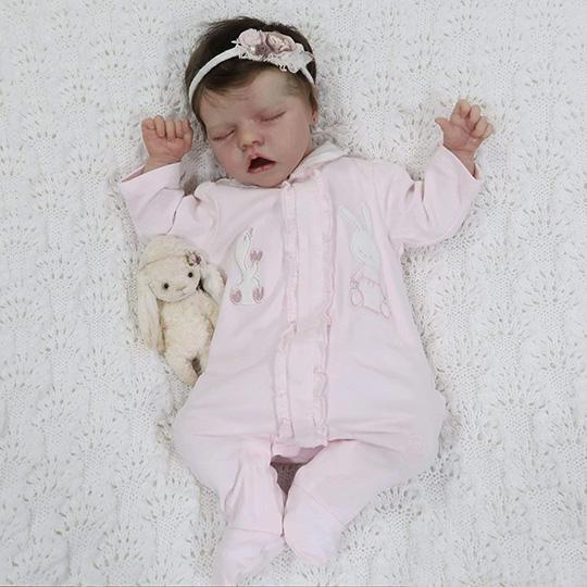 Reborn Poupée 17 Pouces Bébé Souple Réaliste en Souple Magnétique Bouche Baby Mignon Nouveau-né poupée