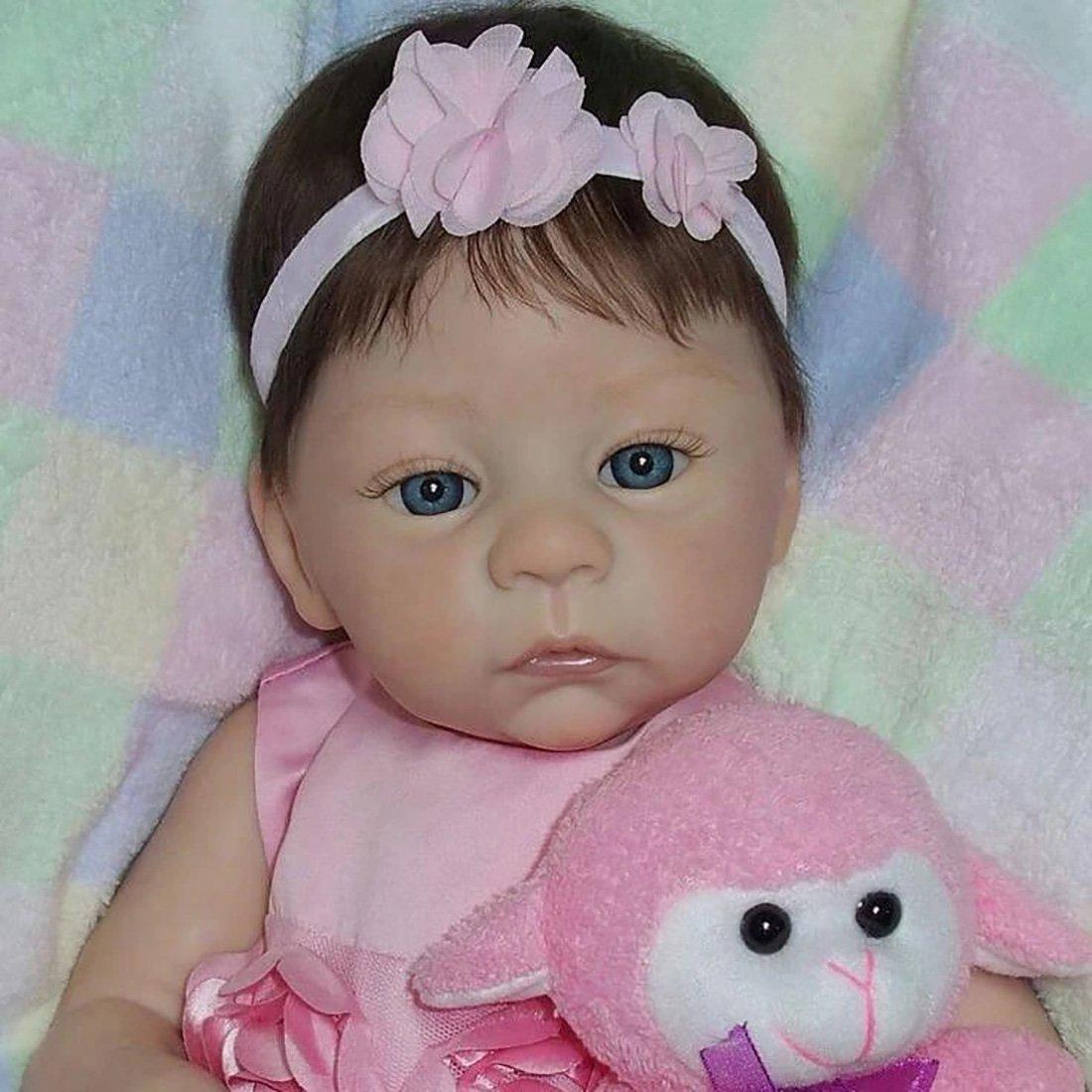 Reborn Poupée 21 Pouces Bébé Souple Réaliste en Souple Magnétique Bouche Baby Mignon Nouveau-né poupée