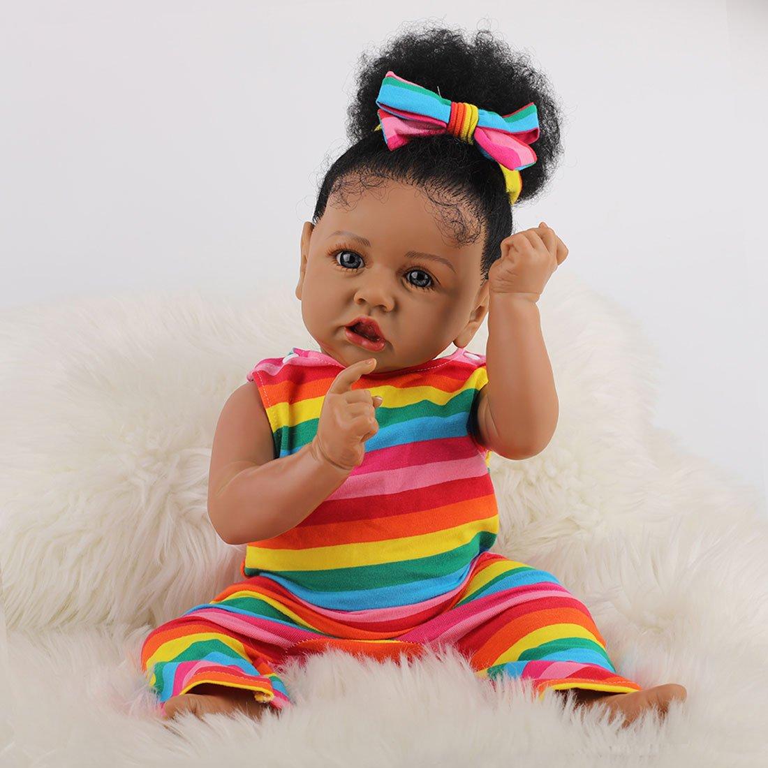 Poupée Afro-Américaine Réalistes 23 Pouces Bébé Poupées pour Enfants Jouets pour Enfants