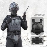 WST Outdoor Multi-function Tactical Armor Set Adjustable Tactical Elbow Pad Waist Seal - Black