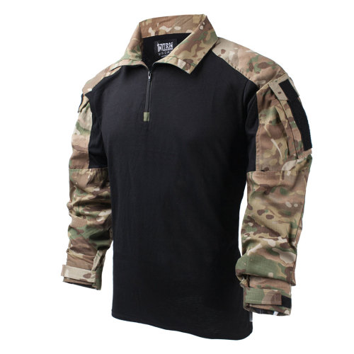 TRN Outdoor Splashproof Combat Long Sleeve Tactical Shirt - MC + Black