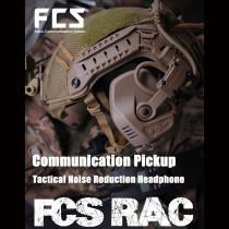 FCS-RAC Pickup Noise Reduction FAST Helmet Tactical Headset - Tan (RAC Headset + Standard PTT)