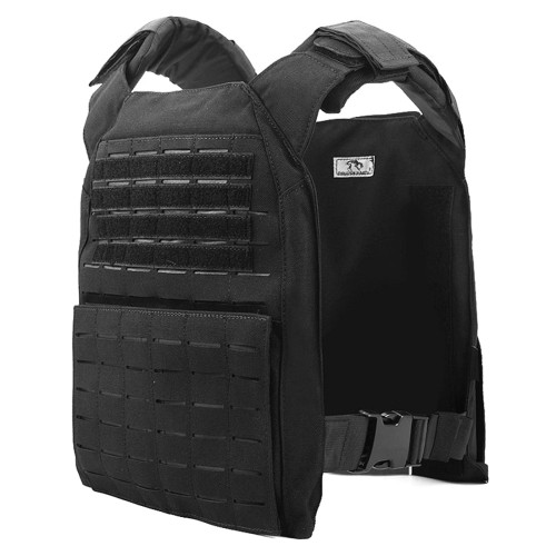 Military Plate Carrier Molle Tactical Vest Cordura Modular Combat Vest - Black
