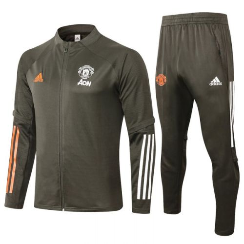 Manchester United Army Green 20-21 Jacket Training Suit(Top + Pant)