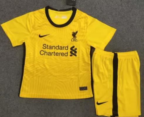 20/21 Liverpool Kids goalkeeper soccer Jersey and short kit