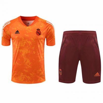 2021 Real Madrid Orange short sleeve training suit(Shirt + Pant)