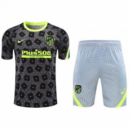 2021 Atletico Madrid Brown short sleeve training suit(Shirt + Pant)