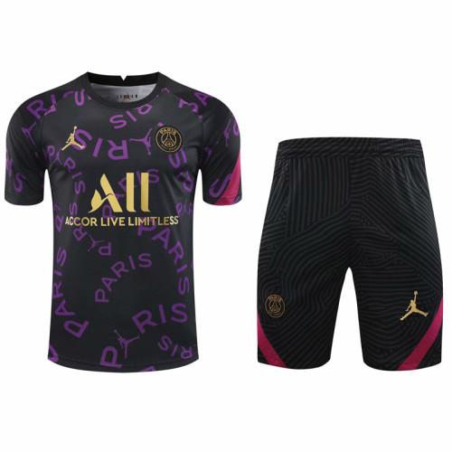 2021PSG Jordan black short sleeve training suit(Shirt + Pant)