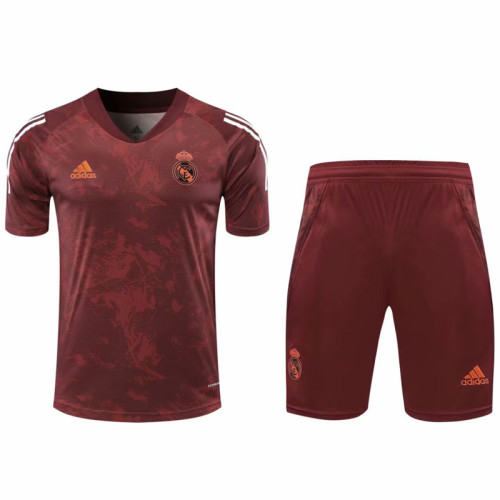 2021 Real Madrid red short sleeve training suit(Shirt + Pant)