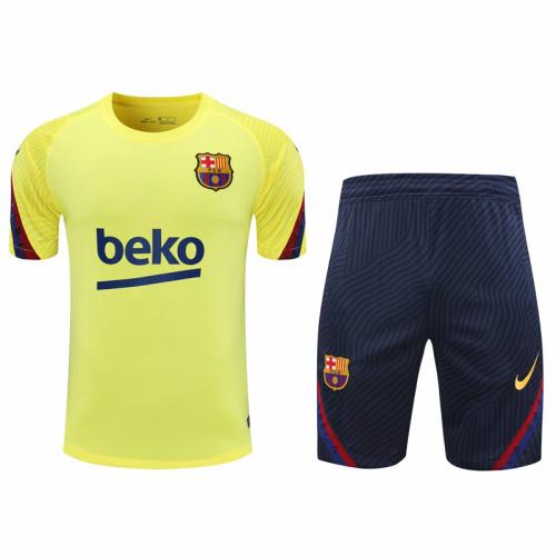 2021 Barcelona Green short sleeve training suit(Shirt + Pant)