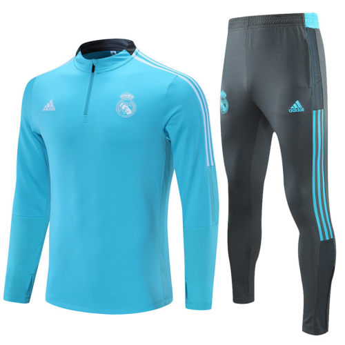 2021-2022 Real Madrid Light Blue Half Pull Training Suit and Pants