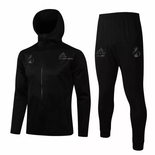 Mens Real Madrid Hoodie Jacket + Pants Training Suit Black 2021/22