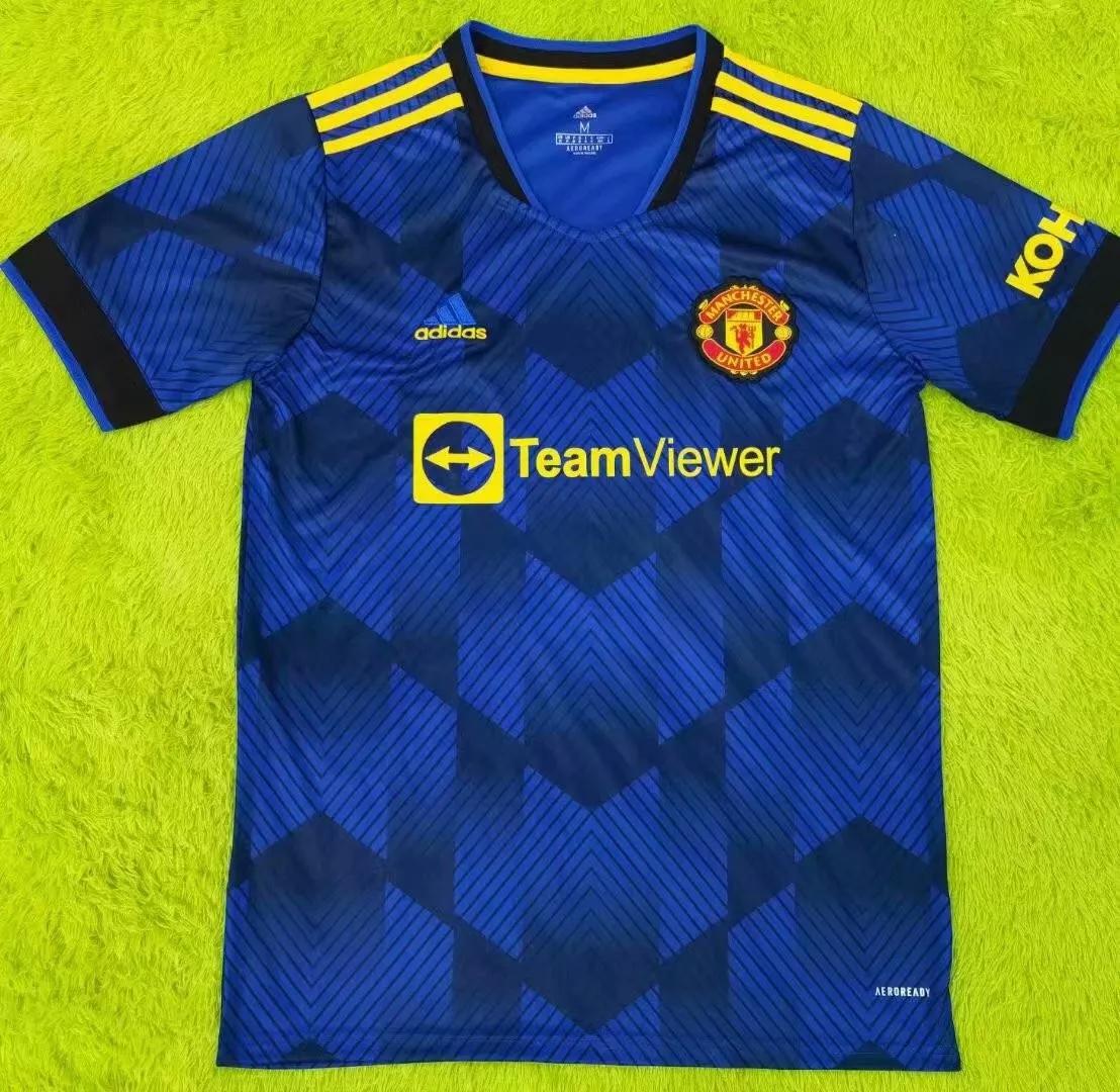 21/22 New Adult Thai version MUN Manchester united blue club soccer jersey football shirt