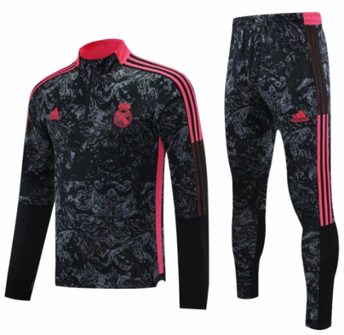 2021-2022 Real Madrid black half pull training suit and pants
