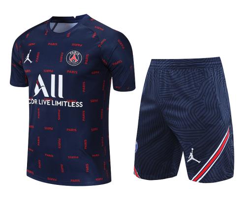 PSG 21/22 Dark Blue/Red Training Kit Jerseys