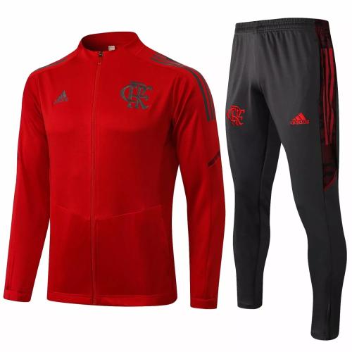 Mens Flamengo Jacket + Pants Training Suit Red 2021/22