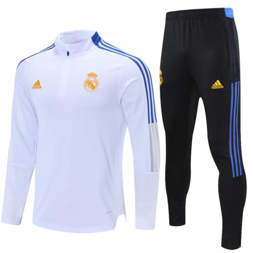 Real Madrid 21/22 Tracksuit - White/Orange 2