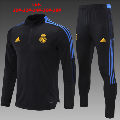 Kids Real Madrid 21/22 Trackusit - Black/Orange