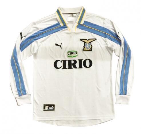 Lazio 99/00 Away White Long Soccer Jersey