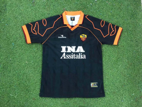 Roma 99/00 Away Black Soccer Jersey