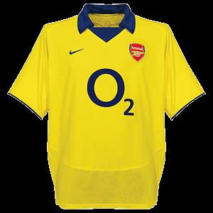 Arsenal 02/04 Away Yellow Soccer Jersey