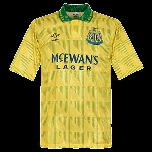 Newcastle 1991 Away Yellow Soccer Jersey