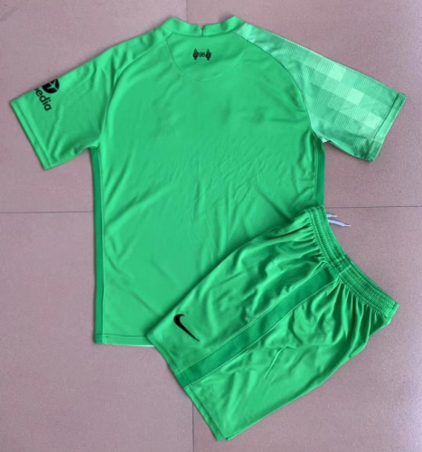 Kids-Liverpool 21/22 GK Green Soccer Jersey