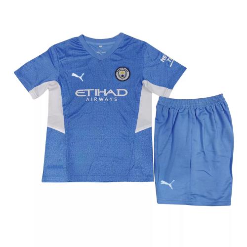 Kids-Manchester City 21/22 Home Soccer Jersey