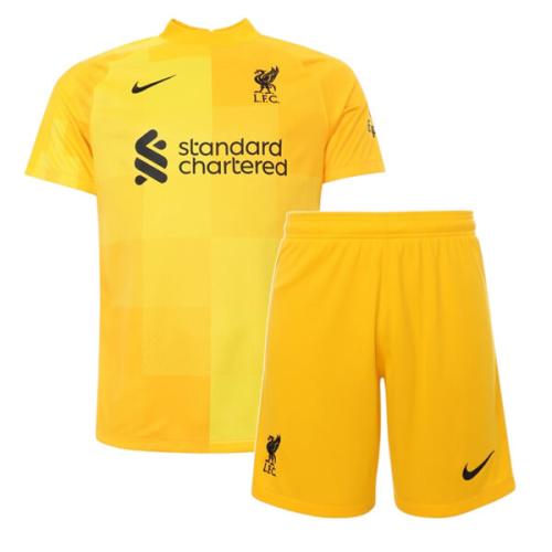 Kids-Liverpool 21/22 GK Yellow Soccer Jersey