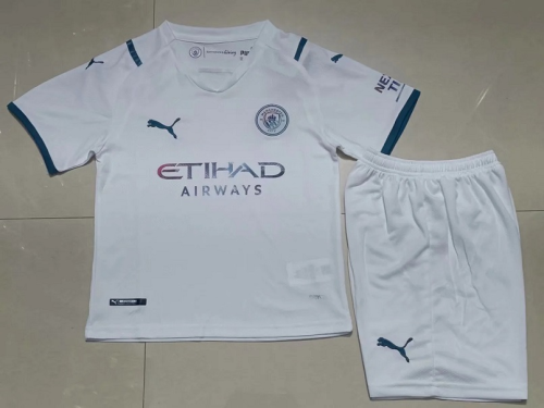 Kids-Manchester City 21/22 Away White Soccer Jersey