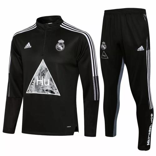 Mens Real Madrid x Human Race Training Suit Black 2021/22