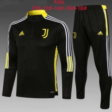 Kids Juventus 21/22 Trackusit - Black/Yellow