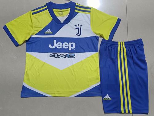 Kids-Juventus 21/22 Third Yellow/Blue Soccer Jersey